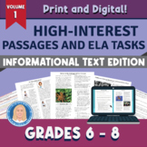 Informational Text Passages & Tasks Aligned to 10 Reading Inform. Text Standards