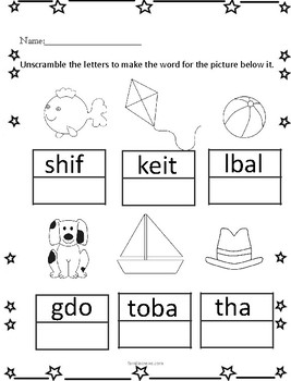 Beginning Phonics-fill in the letters