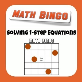 1-step Equation Bingo Game - All 4 Operations, Whole Numbers Only