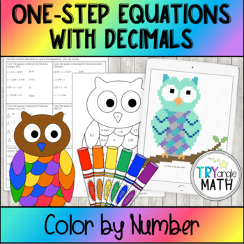 1-step Equations with Decimals Color By Number