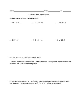 1 step equations addition and subtraction