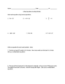 1 step equations multiply and divide