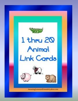1 thru 20 Animal Link Cards