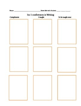1 to 1 Conference Sheet