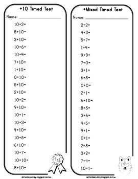 1 to 10 Addition Timed Tests