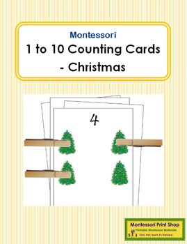 1 to 10 Counting Cards - Christmas
