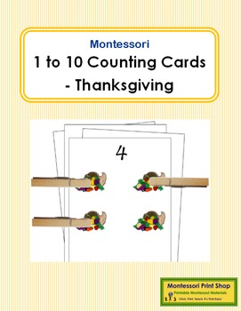 1 to 10 Counting Cards - Thanksgiving