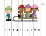 1 to 10 Kids on Sled Math Puzzle
