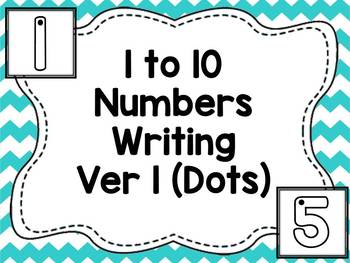 1 to 10 Numbers Writing Version 1 (Starting Dots)