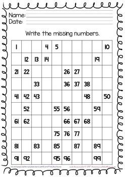 Numbers 1 to 100 Activity Sheets for Kindergarten
