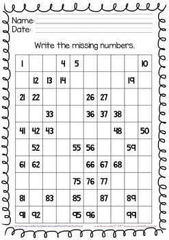 Numbers 1 to 100 Activity Sheets for Kindergarten by