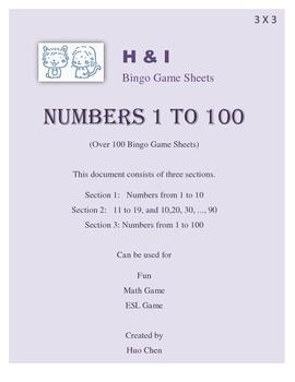 1 to 100 Bingo Game (H&I Bingo Game Sheets) - 3 X 3