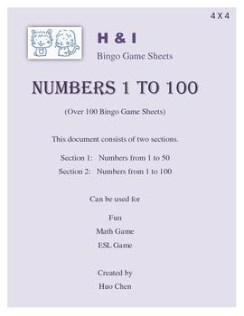 1 to 100 Bingo Game (H&I Bingo Game Sheets) - 4 X 4