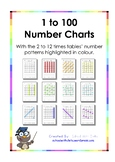 1 to 100 Charts (With Number Patterns Marked For The 2 to 12 Times Tables)