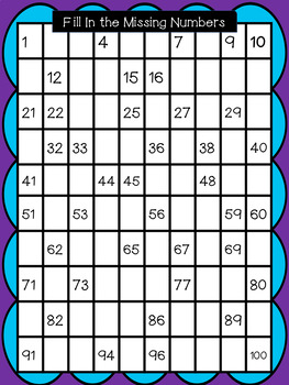 1 to 100 Fill In the Missing Number Grids- Color and Black and White