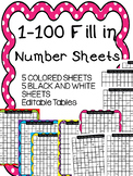 1 to 100 Fill In the Missing Number Grids- Color and Black