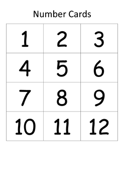 1 to 12 Bingo