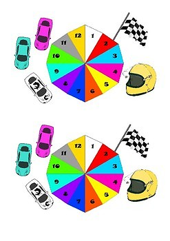 1 to 12 Racing themed spinner