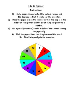 1 to 12 spinner for games