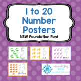 1 to 20 Number Posters A4 (NSW Foundation Font)