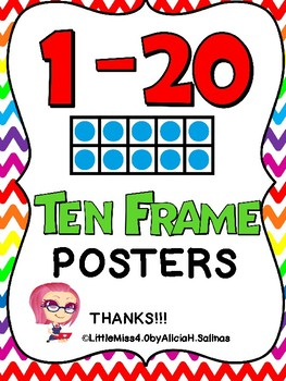 1 to 20 Ten Frame Chevron Posters