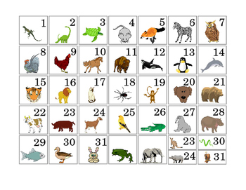 1 to 31 Days of the Month Cut Paste Calendar Pieces Animals Numbers Math 3 pages