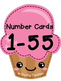 1 to 55 Number flashcards