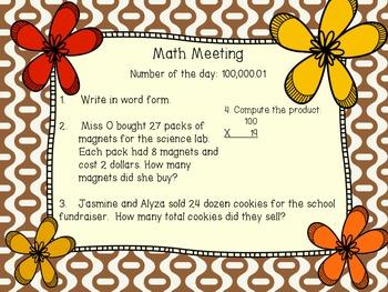 1 week of Math Meeting - FREEBIE