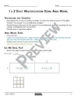 1 x 2 Digit Area Model Multiplication