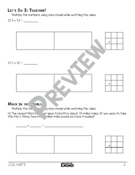 1 x 2 Digit Area Model Multiplication  Math Video and Worksheet