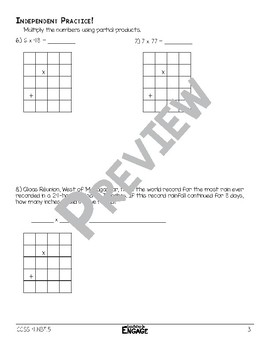 1 x 2 Digit Partial Product Multiplication Math Video and Worksheet