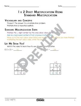 1 x 2 Digit Standard Multiplication Math Video and Worksheet