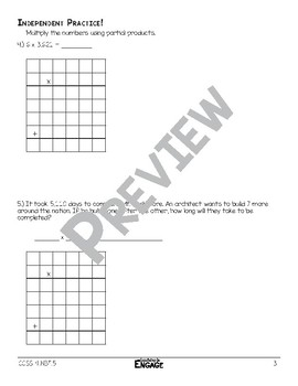 1 x 4 Digit Partial Product Multiplication Math Video and Worksheet