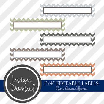 "1"" x 4"" EDITABLE PRINTABLE Labels - Classic Chevron Collection"