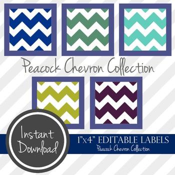 "1"" x 4"" EDITABLE PRINTABLE Labels - Peacock Chevron Collection"