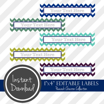"1"" x 4"" EDITABLE PRINTABLE Labels - Peacock Chevron Collection"