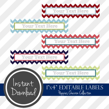 """1"""" x 4"""" EDITABLE PRINTABLE Labels - Poppies Chevron Collection"""
