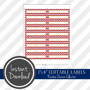 "1"" x 4"" EDITABLE PRINTABLE Labels - Rainbow Chevron Collection"