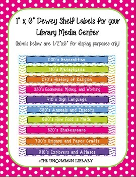 "1"" x 6"" Non-Fiction Dewey Shelf Labels for your Library Media Center - Chevron"
