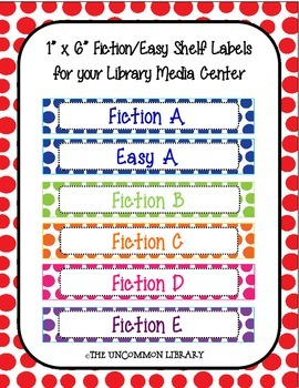 "1"" x 6"" Fiction and Easy Polka Dot Shelf Labels"