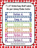 "1"" x 6"" Fiction and Easy Polka Dot Shelf Labels"