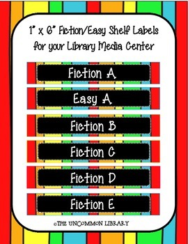 "1"" x 6"" Fiction and Easy Rainbow Print Shelf Labels"