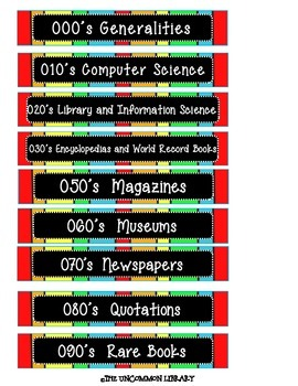 "1"" x 6"" Non-Fiction Dewey Shelf Labels  - Rainbow Print"