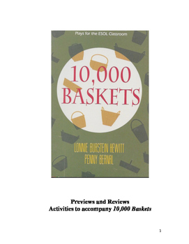 10,000 Baskets, A Play for English Learners: Pre and Post Activities