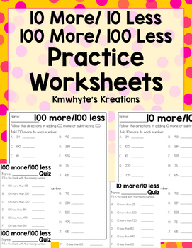 10/100 More or Less Practice Worksheets