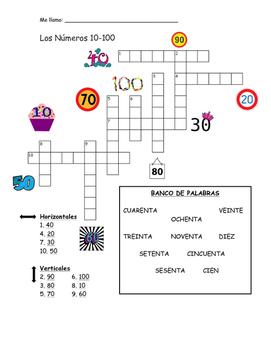 10-100 números crossword