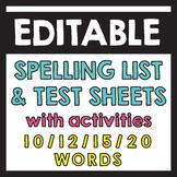 10/12/15/20 Words Spelling Bundle - Editable Pretest, Test Sheets & Activities