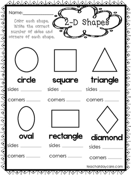 10 2-D and 3-D Shapes Worksheets. Preschool-1st Grade Math Worksheets.