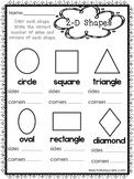 10 2-D and 3-D Shapes Worksheets. Preschool-1st Grade Math Worksheets.