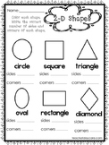 10 2-D and 3-D Shapes Worksheets. Preschool-1st Grade Math